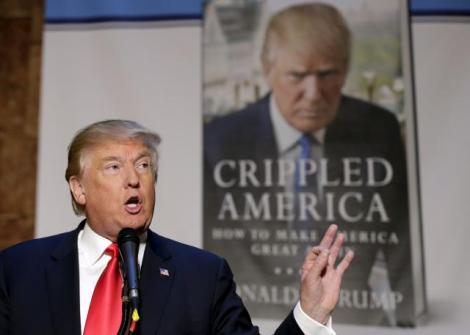 Republican presidential candidate Donald Trump speaks at a news conference to promote his new book